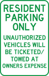 UPsafety Parking Sign Resident